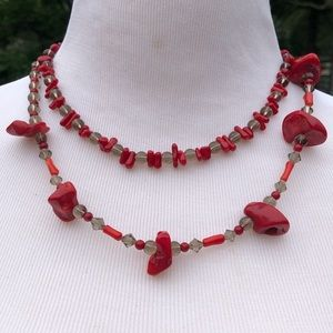 🆕List! Handmade Red/Coral Beaded Necklace! E/VTG